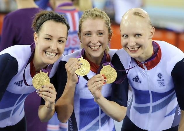 The Team GB women's team pursuit Olympic champions Dani King, Laura Trott and Joanna Rowsell [Picture: David Ashdown/NOPP]