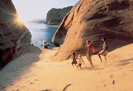 Playing at the beach at Lake Powell Photo Courtesy of ARAMARK Harrison Lodging