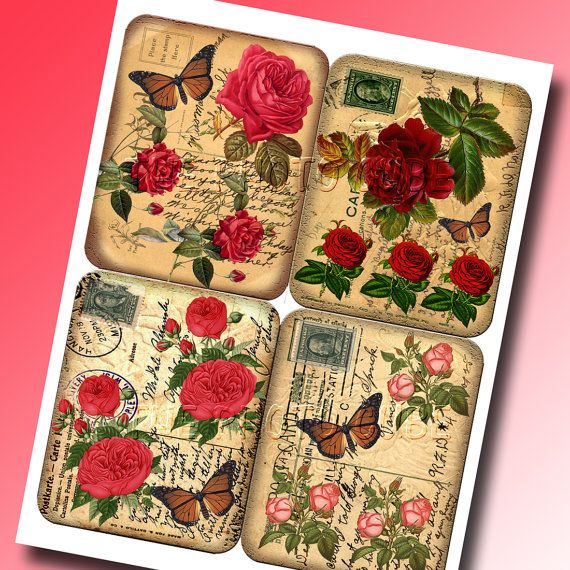 sHaBBy CHiC Red & Pink RoSeS AGeD aNTiQUe pOsT cArD