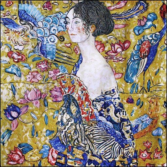 Silk Scarf with motif LADY WITH FAN by Gustav Klimt silk screened by hand #Rosberg #Scarf