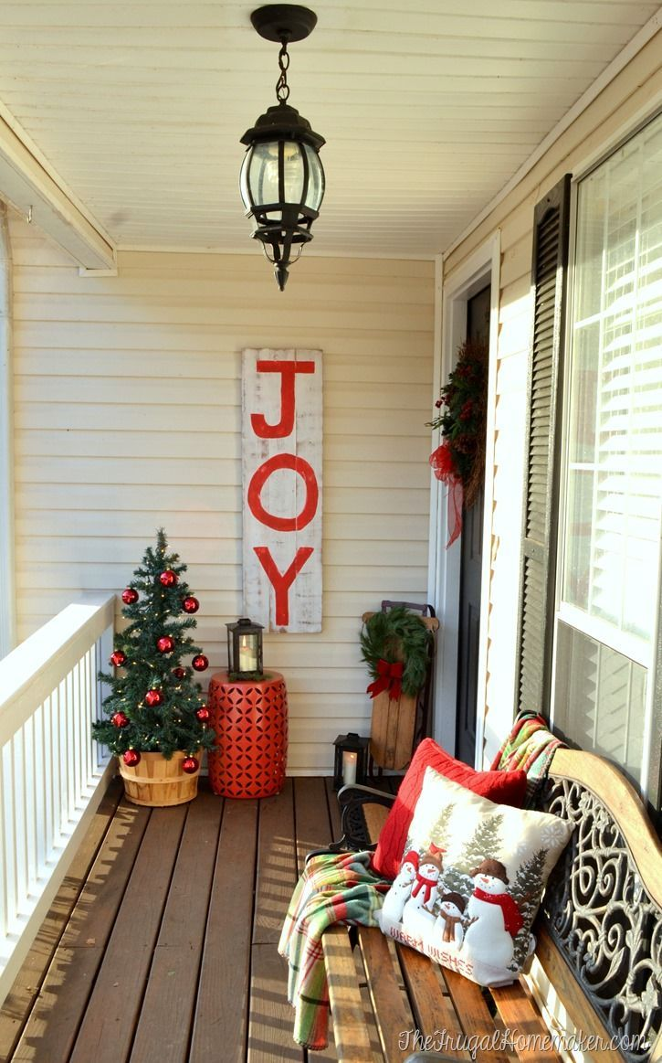 Christmas Front Porch With Rustic Joy Christmas Sign