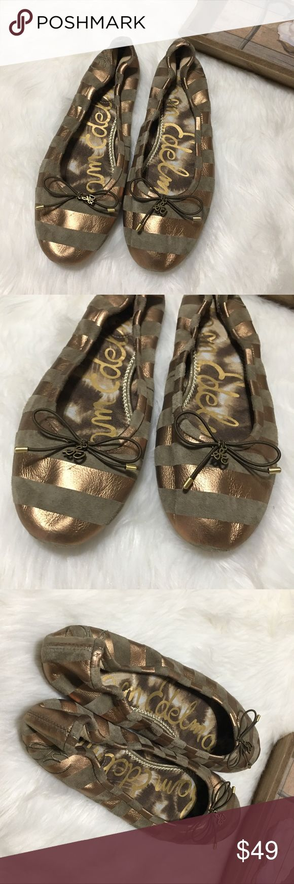 Sam Edelman Bronze Striped Ballet Flats Sam Edelman Bronze striped ballet flats in excellent brand new WITHOUT tags condition. Super chic and stylish! Perfect for all occasions! Sam Edelman Shoes Flats & Loafers