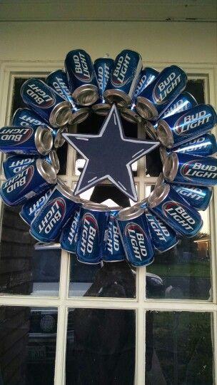 """Budlight/Dallas Cowboys """"manwreath"""" www.facebook.com/cousinsheartscrafts"""