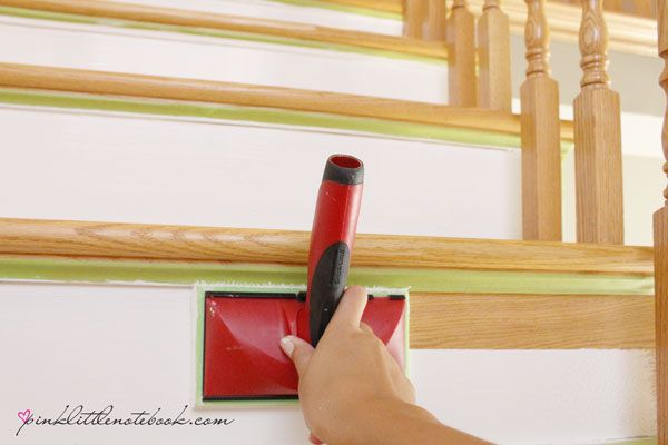 Painting a Stair Riser in 10 Seconds or Less: A Must Have Tool!   pink little notebook