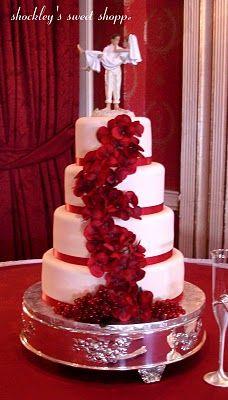 crimson wedding cake