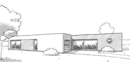Plan de maison individuelle contemporaine
