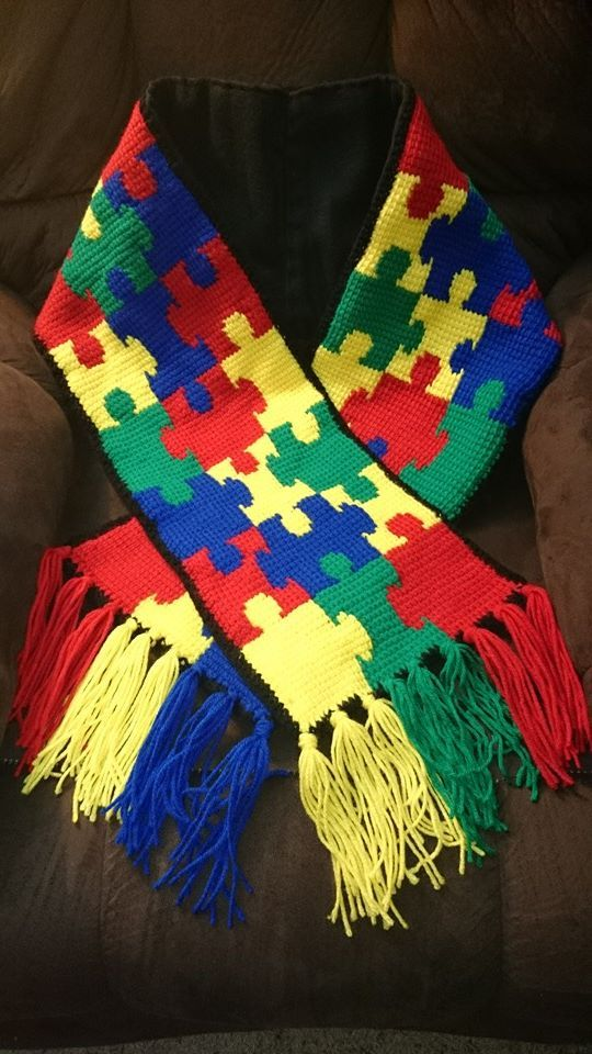 I just completed this Autism awareness scarf. It's done by ...