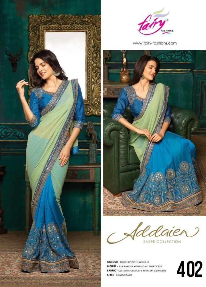New Green & Blue Designer Georgette Saree Raw Silk Blouse Wedding Bridal Sari 2 #Handmade #SareewithUnstitchBlousePiece