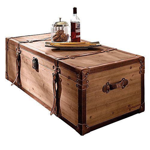 """Table basse """"Coffre"""" en bois, brun, avec beaucoup d'espace de rangement, long.110 x larg.50 x haut.35 cm env."""