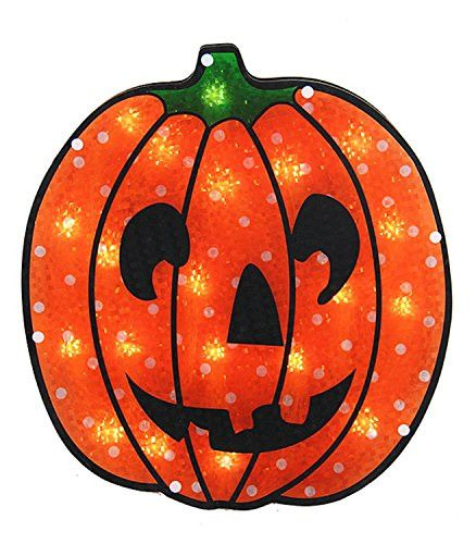 Felices Pascuas Collection 13 inch Lighted Holographic Jack o' Lantern Pumpkin Halloween Window Silhouette
