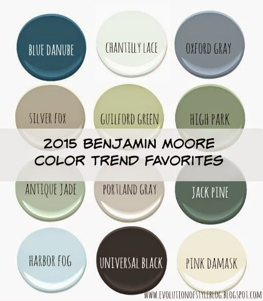 Love the top three across and bottom left <3 ~jc Evolution of Style: Benjamin Moore's 2015 Color of the Year (and Color Trends!)