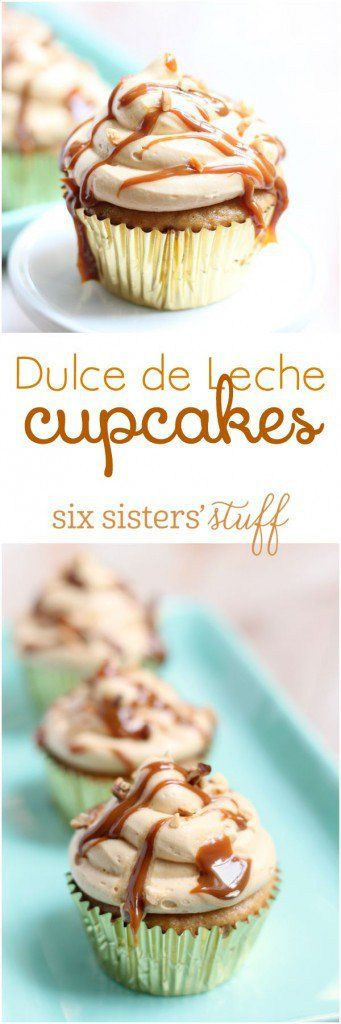 These decadent Dulce de Leche cupcakes will wow your friends (and they're not hard to make!) - recipe from Six Sisters' Stuff
