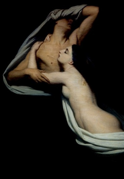 detail from Francesca da Rimini and Paolo Malatesta appraised by Dante and Virgil, Ary Scheffer, ca. 1855, Musee du Louvre