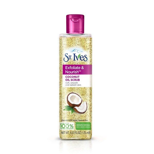 hydrated silica and finly milled coconut shell powder are suspended in a grapeseed oil base to