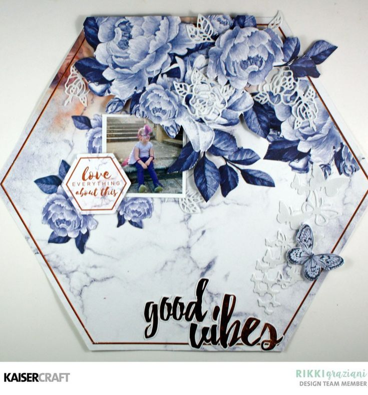Paper Layering with New Kaisercraft March 2018 Decorative Dies. 'Good Vibes' Layout by Rikki Graziani Design Team member Kaisercraft Official Blog.Featuring March 2018 Misty Mountains' collection and Decorative Die - DD475 Texture Flutter and Decorative Die - DD202 Rose Stem. Learn more at kaisercraft.com.au - Wendy Schultz - Kaisercraft Projects.