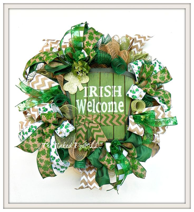 St. Patrick's Day Wreath - St Pat Wreath - St Paddy's Wreath - St Patrick Decor - Irish Wreath - Irish Decor - St. Patrick's Welcome Wreath by TheNakedDoorLLC on Etsy