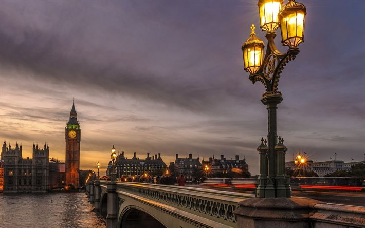 Download wallpapers Westminster Bridge, London, Big Ben, Thames, evening, sights of London, UK