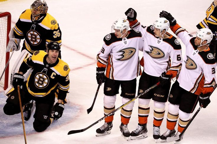 Boston, MA - 1/30/2018 - (1st period) The Anaheim Ducks celebrate after they scored first in a play where the puck rebounded off a sliding Boston Bruins defenseman Zdeno Chara (33) and past Boston Bruins goaltender Anton Khudobin (35) into the Bruins goal during the first period. The Boston Bruins host the Anaheim Ducks at TD Garden. - (Barry Chin/Globe Staff), Section: Sports, Reporter: Kevin P Dupont, Topic: 31Bruins-Ducks, LOID: 8.4.831219291.