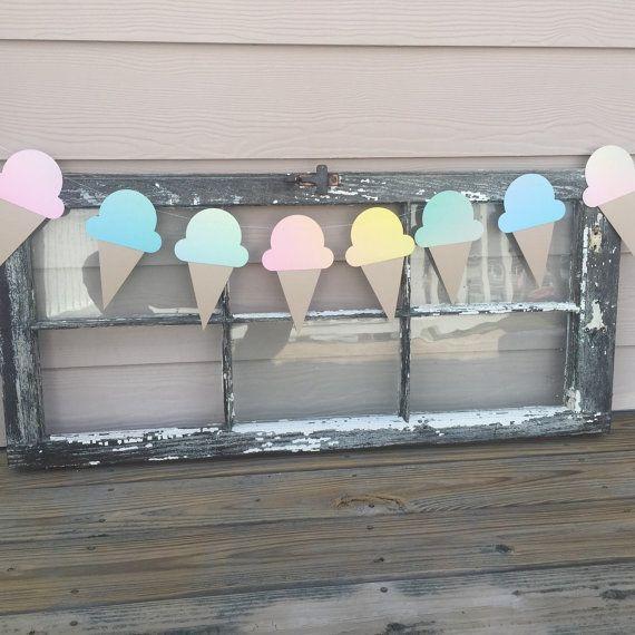 Celebra tu verano con esta divertida Ombre pastel helado Garland! Completa tu fiesta de verano con estos viene cada medición en 5 1/2 pulgadas