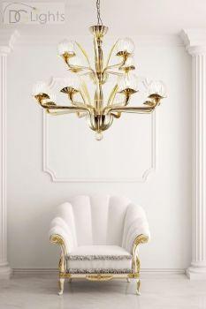 Dolce Vita Afrodite Lampe Kronleuchter Gold gespiegelt mit Paglierino