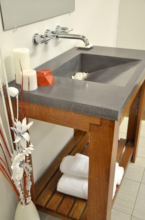Brand New Concrete Slot Drain Top Mount Vanity SinkGraphite Black //