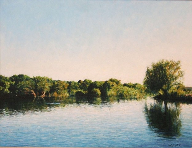 Walter Meyer - Gariep River with Willow Tree, oil on canvas