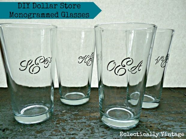 DIY Monogrammed Drinking Glasses from Dollar Store - a glass for everyone in your family.  Better and cheaper than Pottery Barn!