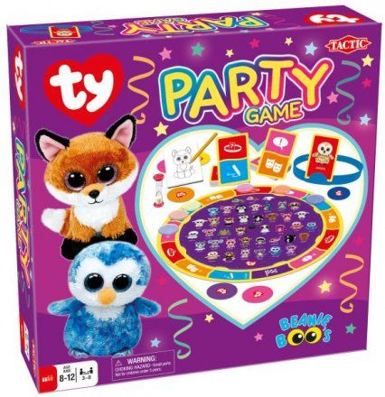 Ty Beanie Boo's Party Game - Four exciting party games in one – all wrapped up in Ty cuteness! Players move their playing piece around the board. During a player's turn, they draw a card that indicates if they have to Draw, Describe, Act Out, or Guess the Ty Beanie Boos character on their card. Includes a card-holder headband, cards, pencil, drawing pad and the game board that shows all of your favorite Ty Beanie Boos characters.
