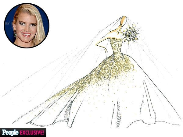 Jessica Simpson's Wedding Dress Exclusive: See the Gorgeous Sketch and Inspiration Board | People.com