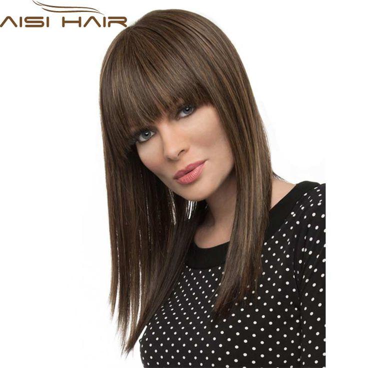 """18 """"女性かつらロングストレートブラウンかつら合成かつら前髪とアフリカ系アメリカ人耐熱人工毛かつらアフロウィッグ"""