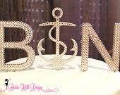 US Navy, Military Wedding, Sweet Sailor Crystal Monogram Cake Topper. The anchor is just too cute. I would love this!