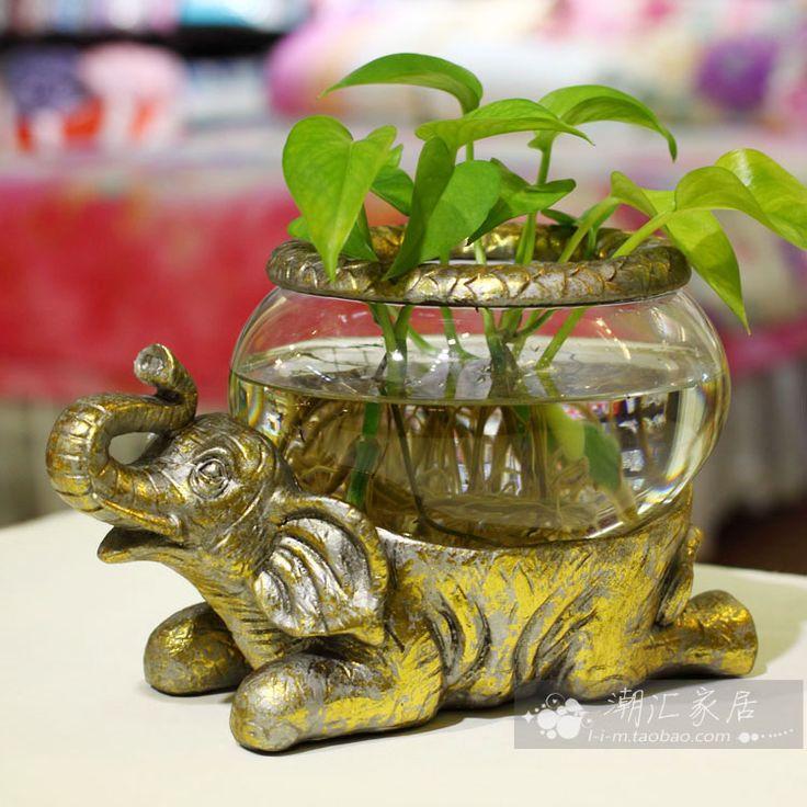 Goldfish bowl mini tortoise turtle plants flower pot unique small desktop fish tank