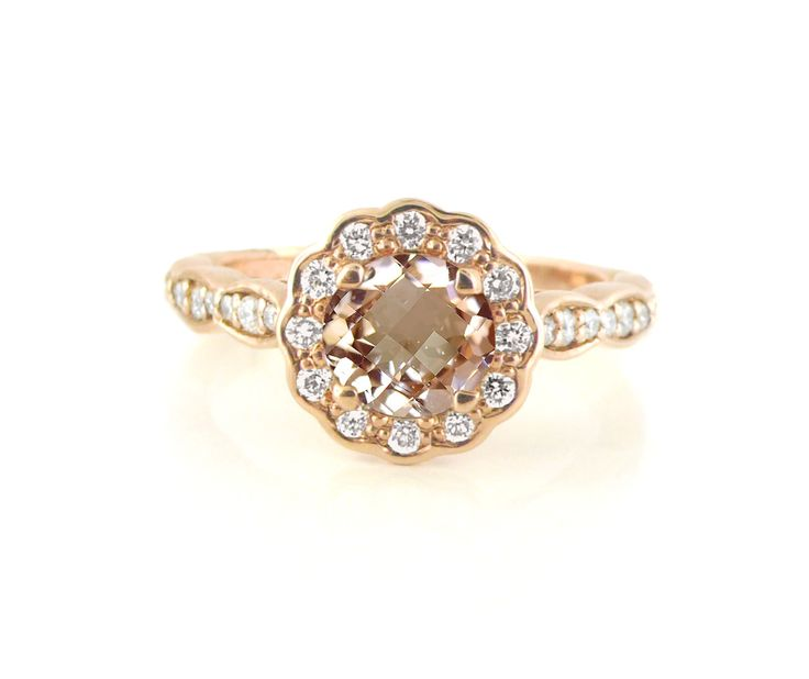 An 18ct Rose Gold, Morganite and Diamond Floral Halo Ring
