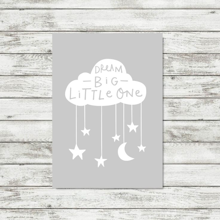 Grey Cloud Nursery Wall Art Dream Big Little One Grey Nursery Print Cloud Print Gender Neutral Nursery Decor Baby Wall Art Baby Decor by violetandalfie on Etsy