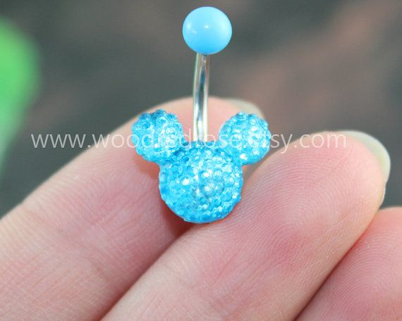 Blue Mouse Blue Crystal belly button ringStud Bar by woodredrose