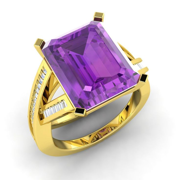 Certified 5.38 Ct Emerald Cut Amethyst & G/VS Diamond 14k Gold Engagement Ring | eBay