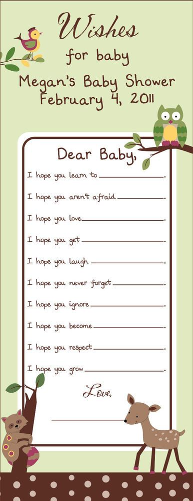 24 Personalized Enchanted Forest Baby Shower WISH Game Cards - Deer, Owl, Tree