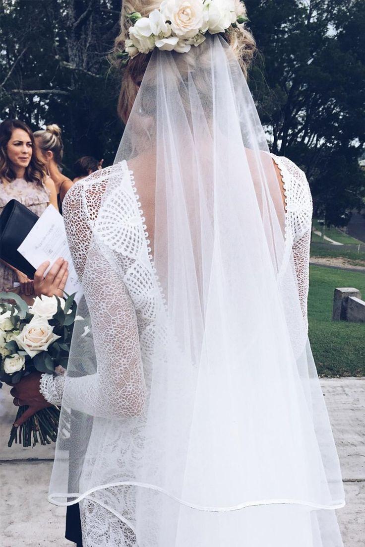 Lauren in our MAI gown & KINGA veil | Grace Loves Lace