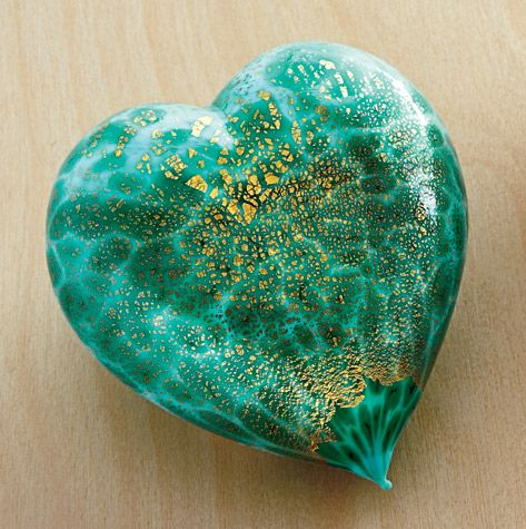 Murano Glass Heart - sky blue/green, Decorative Glass, Home Furnishings - The Museum Shop of The Art Institute of Chicago
