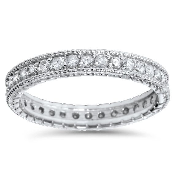 Stackable Diamond .65CT Vintage Eternity Ring Womens by Pompeii3