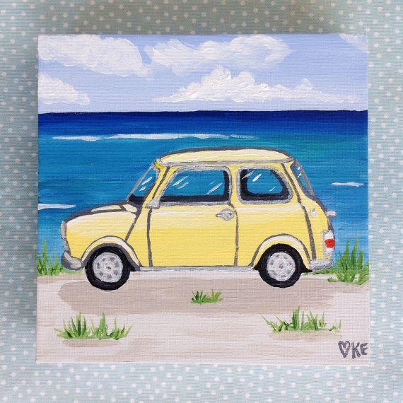 Beach decor Mini Cooper art beach canvas art by KookookachooArt