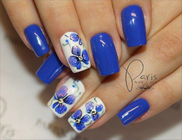 Accurate nails, Blue flowers nail art, Blue nails ideas, Brilliant polish nails, Evening nails, Exquisite nails, flower nail art, Glitter nails