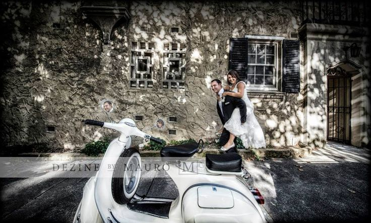 Wedding photography Italian style piggyback cute vespa