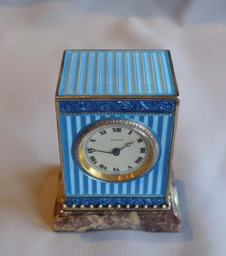 Silver gilt, blue guilloche enamel and marble sub miniature mantel clock. - Gavin Douglas Antiques