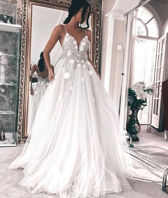 2018 white v neck tulle prom dress evening dress applique long wedding dress gowns