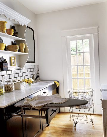 love the ironing boardIdeas, Ironing Boards, Mudroom, Inspiration, Iron Boards, Subway Tile, Mud Room, Laundry Rooms, Laundry Baskets