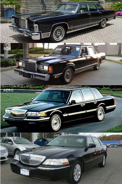 4 generations of Lincoln Town Car