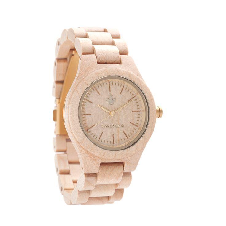 Gold edition - WoodWatch FEMME Collectie. Gemaakt van natuurlijk esdoornhout, afgewerkt met gouden details. Een stijlvol en elegant horloge voor vrouwen.Levertijd: voor 16:00 besteld = morgen in huis op werkdagen.