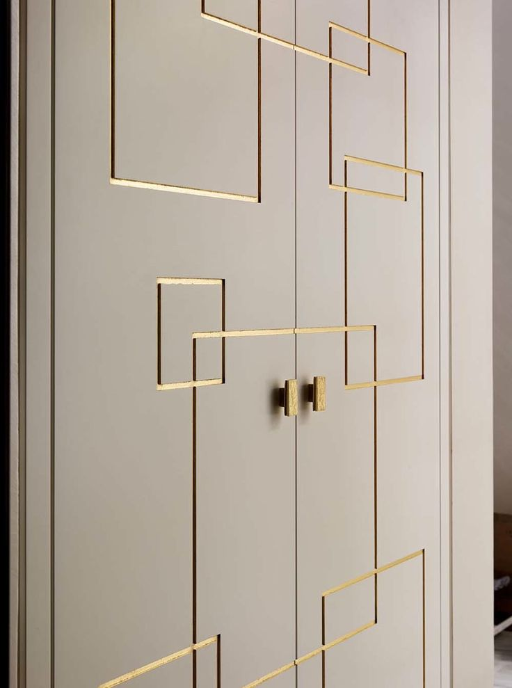 Gold molding doors and brass square knobs by William Garvey                                                                                                                                                     More
