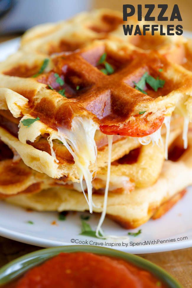 PIZZA WAFFLES with just 3 ingredients! These yummy waffles take just a few minutes to make and are easy, cheesy and crazy good!